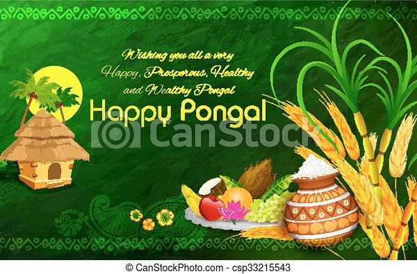 Illustration of happy pongal greeting background happy pongal greeting background csp33215543 m4hsunfo