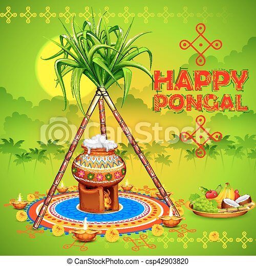 Illustration of happy pongal greeting background happy pongal greeting background csp42903820 m4hsunfo