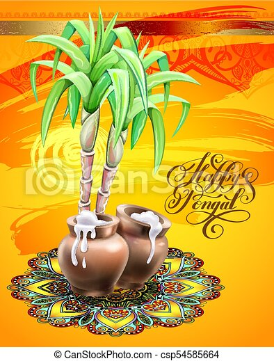 Happy pongal greeting card to south indian winter holiday design happy pongal greeting card to south indian winter holiday design csp54585664 m4hsunfo