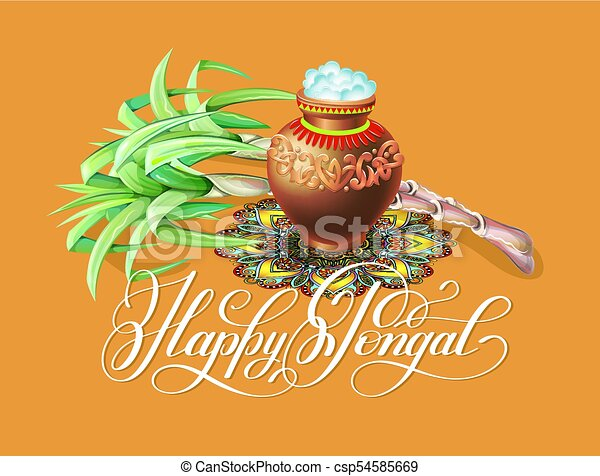 Happy pongal greeting card to south indian winter holiday clip happy pongal greeting card to south indian winter holiday design csp54585669 m4hsunfo