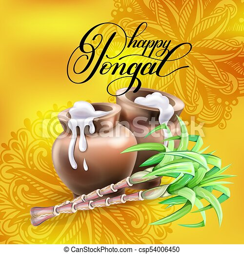 Happy pongal greeting card to south indian harvest festival vector happy pongal greeting card to south indian harvest festival csp54006450 m4hsunfo