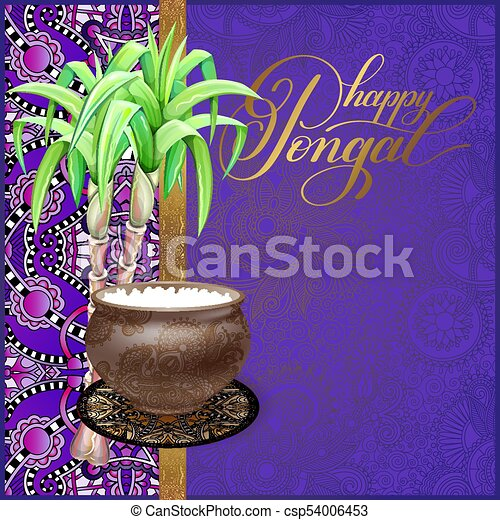 Happy pongal greeting card to south indian harvest festival vector happy pongal greeting card to south indian harvest festival csp54006453 m4hsunfo