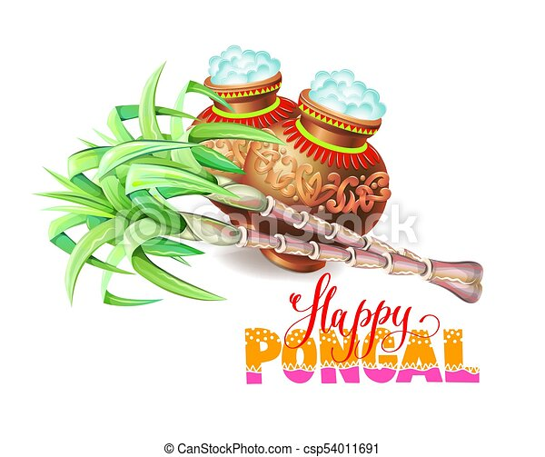 Happy pongal greeting card to south indian harvest festival vector happy pongal greeting card to south indian harvest festival csp54011691 m4hsunfo