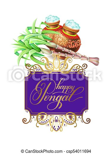 Happy pongal greeting card to south indian harvest festival vector happy pongal greeting card to south indian harvest festival csp54011694 m4hsunfo