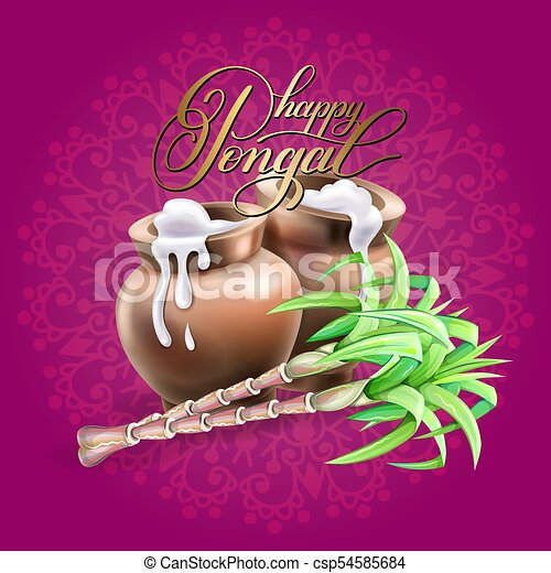 Happy pongal greeting card to south indian winter holiday design happy pongal greeting card to south indian winter holiday csp54585684 m4hsunfo