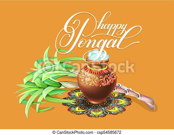 Happy pongal greeting card to south indian winter holiday vectors happy pongal greeting card to south indian winter holiday design csp54585672 m4hsunfo Choice Image