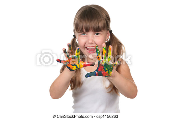 Happy Pre School Kid With Painted Hands  - csp1156263