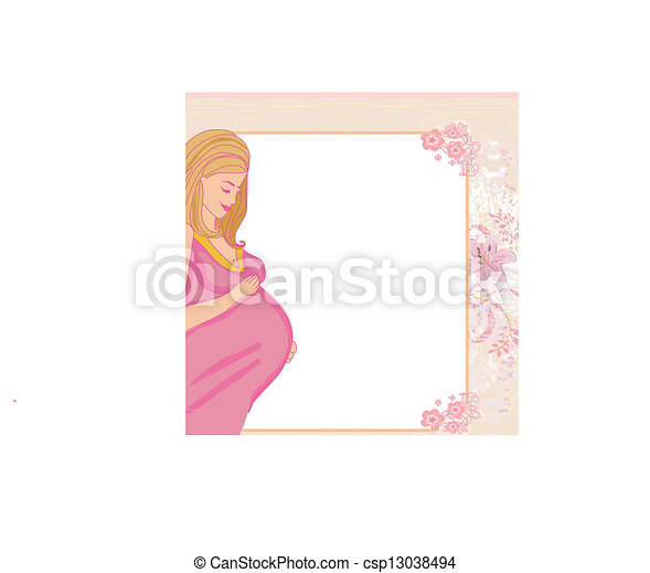 happy pregnant woman, baby shower card - csp13038494