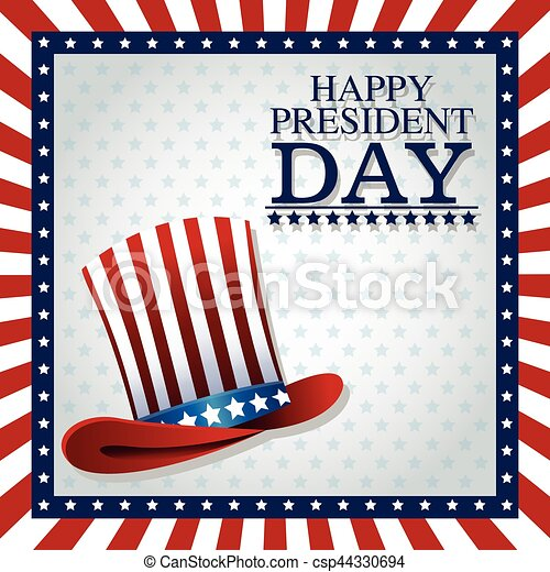 happy president day top hat american frame flag - csp44330694