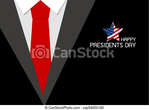 Happy presidents day design of red necktie vector illustration - csp54000160