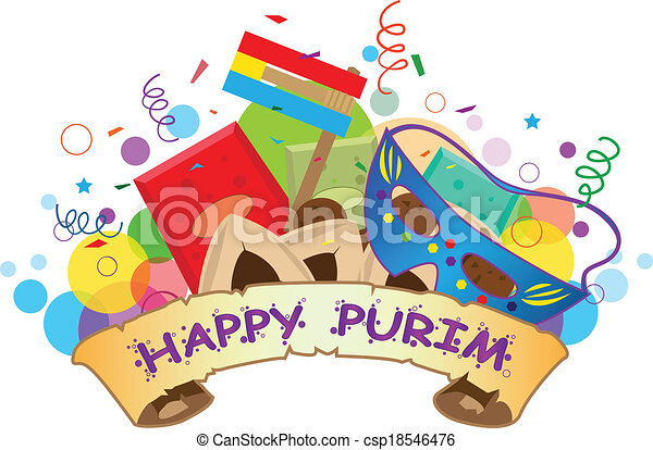 happy purim banner colorful banner with purim symbols and happy rh canstockphoto com purim clip art graphics happy purim clipart