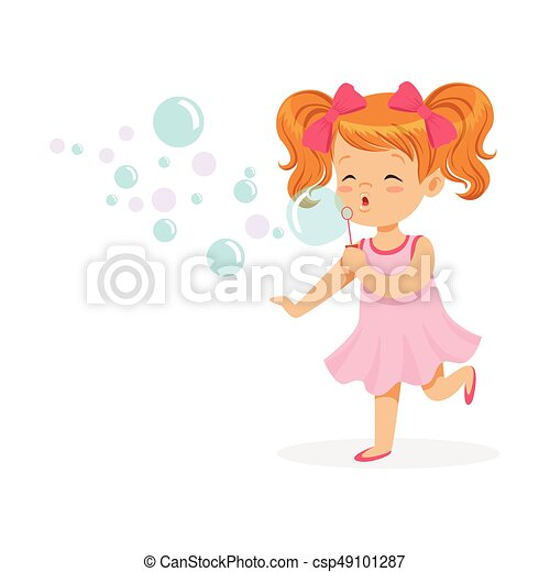 Happy redhead girl in pink dress blowing bubbles vector Illustration - csp49101287
