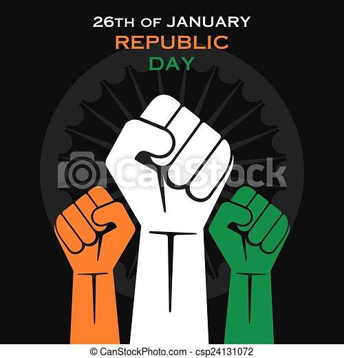 happy republic day greeting design - csp24131072