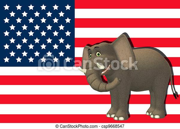Happy Republican Elephant - csp9668547
