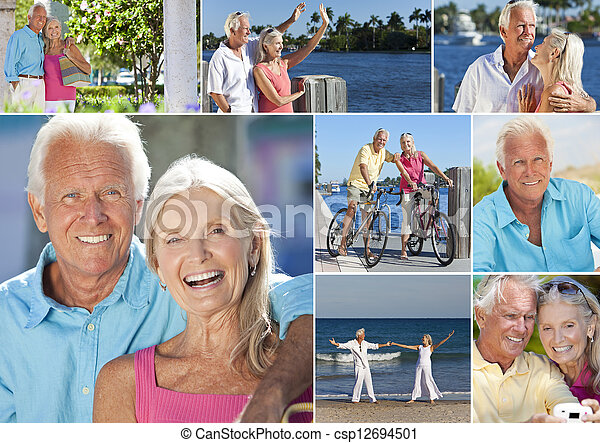 Happy Retired Senior Couple Montage Romantic Vacation - csp12694501
