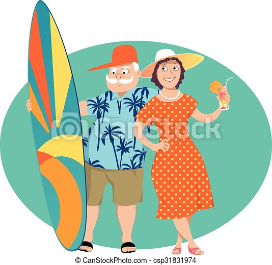 happy retirement happy senior couple standing with a surf rh canstockphoto com congratulations retirement clip art congratulations retirement clip art