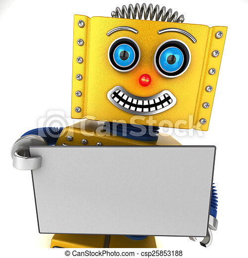 Happy robot holding a blank sign - csp25853188