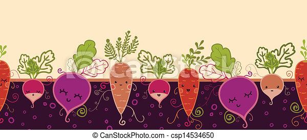 Happy root vegetables horizontal seamless pattern background - csp14534650