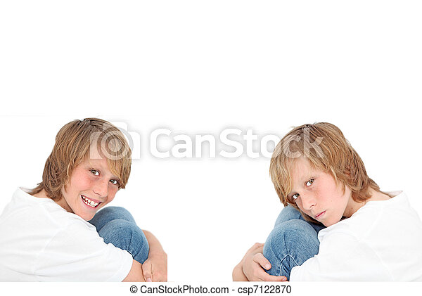 happy sad, twins with different personalities - csp7122870