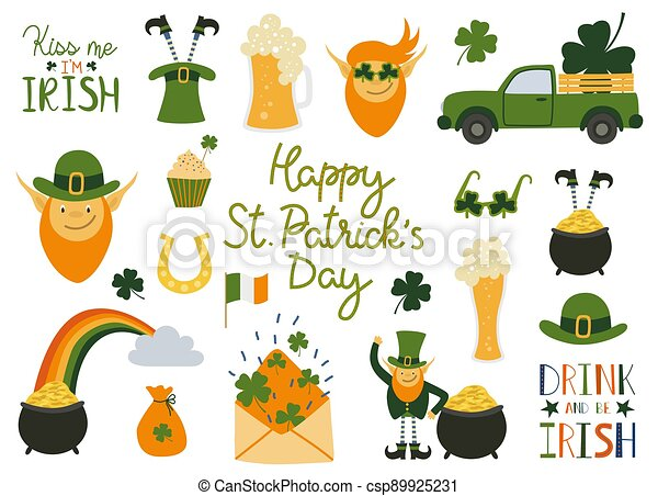 Happy Saint Patrick's Day traditional collection. Big set elements for the day of St. Patrick with hand written quotes. - csp89925231