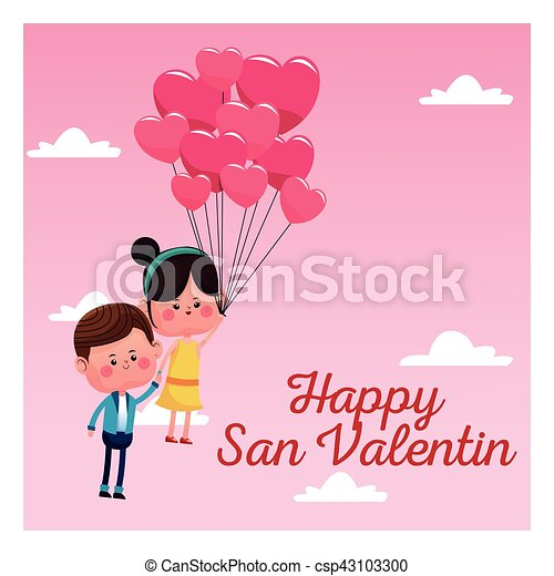 Happy San Valentine Card Couple Branch Balloons Pink Sky Vector