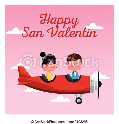 Happy San Valentine Card Couple Flying Red Plane Pink Sky Vector