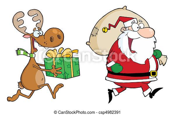 Happy Santa Claus And Reindeer  - csp4982391