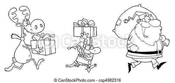 happy santa clauself and reindeer csp4982316
