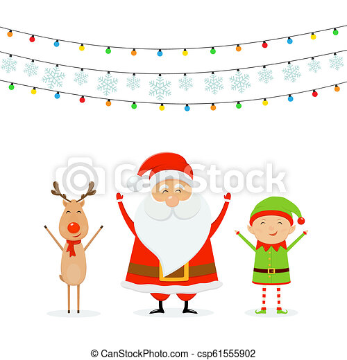 Happy Santa with Reindeer and Cute Elf with Christmas Lights and Snowflakes - csp61555902