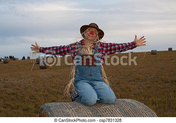 Happy scarecrow on hay bale. - csp7831328