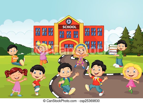Happy school children cartoon in fr - csp25369830