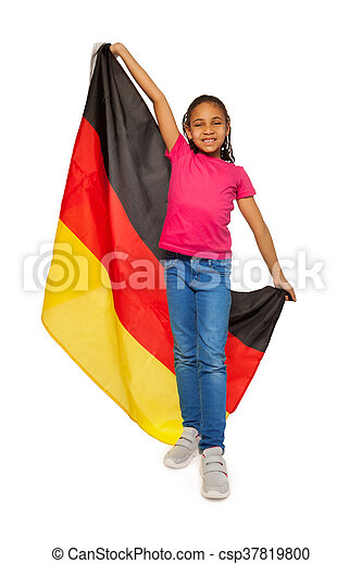 happy schoolgirl holding big german banner happy black schoolgirl