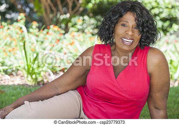 Happy Senior African American Woman - csp23779373