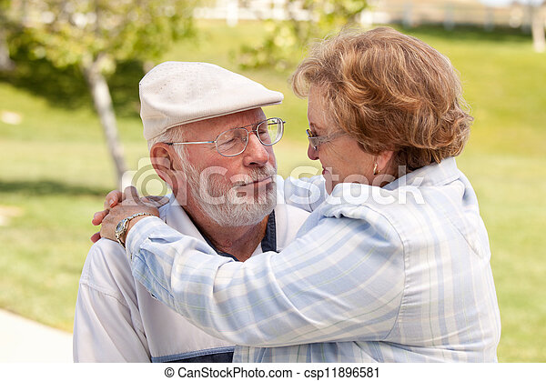 Happy Senior Couple in The Park - csp11896581
