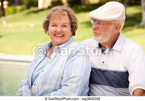 Happy Senior Couple in The Park - csp3642348
