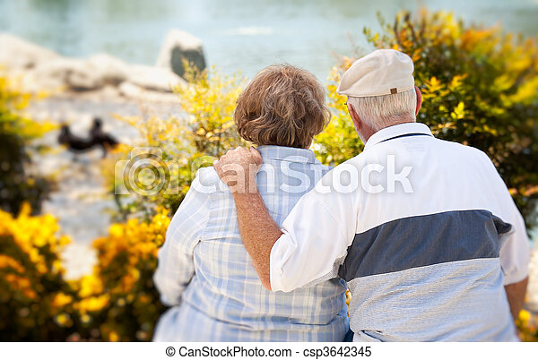 Happy Senior Couple in The Park - csp3642345