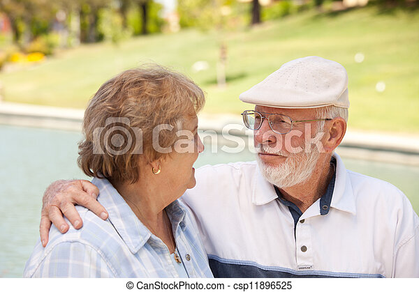 Happy Senior Couple in The Park - csp11896525