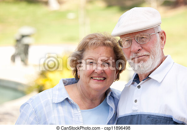 Happy Senior Couple in The Park - csp11896498