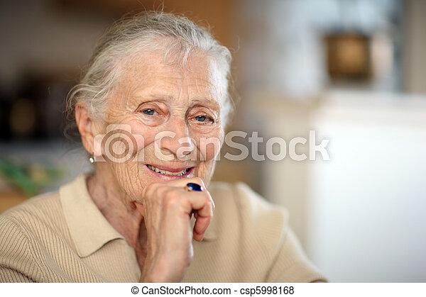 Happy senior woman portrait - csp5998168