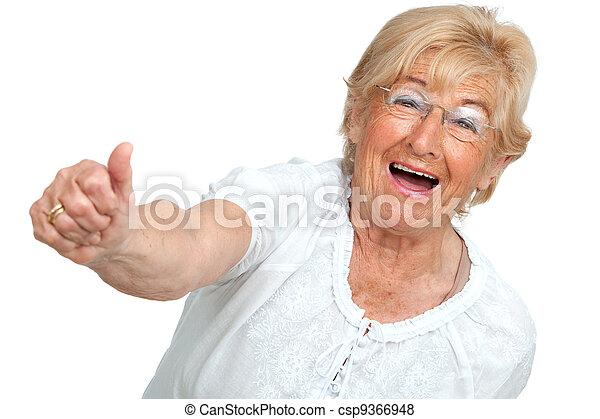 Happy senior woman showing positivity. - csp9366948