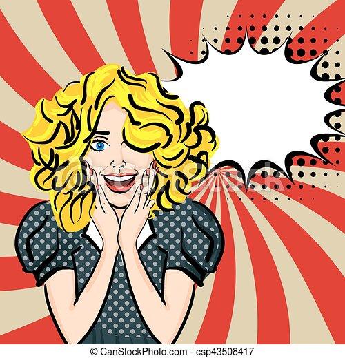 Happy sexy blonde hair girl pop art - csp43508417