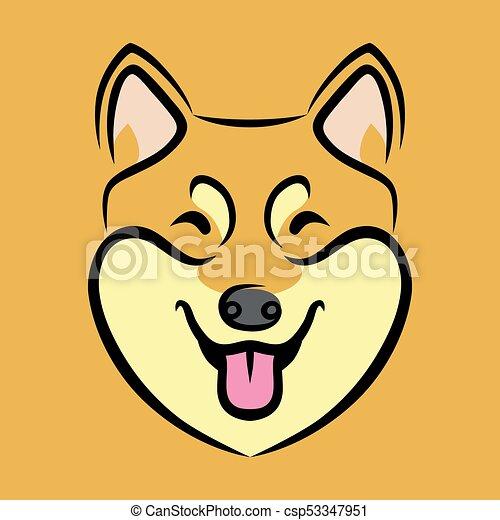 happy shiba inu dog face cute shiba inu dog face vector clipart rh canstockphoto com boxer dog face clip art bulldog face clip art