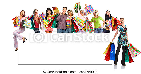 Happy shopping people - csp4759923