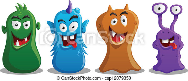 Happy Silly Cute Monsters Set  - csp12079350