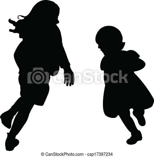 happy sisters playing, silhouette v - csp17397234