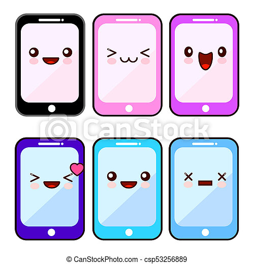 happy smartphone cartoon character kawaii set mobile cell rh canstockphoto com No Cell Phone Clip Art Cell Phone Border Clip Art