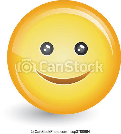 happy smiley face button badge - csp3788984