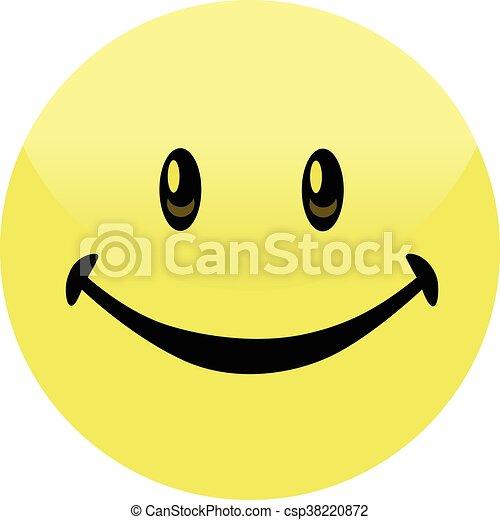 Happy Smiley Face Button Badge - csp38220872