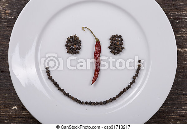 Happy smiley face on dish plate - csp31713217