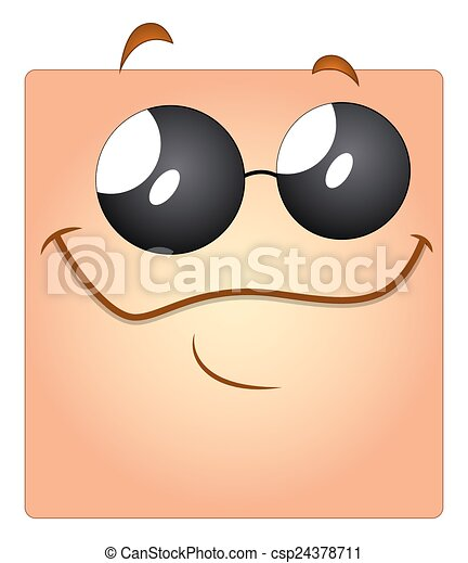 Happy Smiley Face with Sunglasses - csp24378711